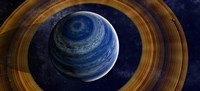 A ringed blue gas giant with shepherd moon in the rings Fine Art Print