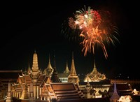 Emerald Palace During Commemoration of King Bumiphol's 50th Anniversary, Thailand Fine Art Print