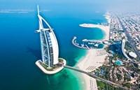Aerial view of the Burj Al Arab, Dubai, United Arab Emirates Fine Art Print