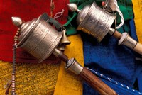 Prayer Wheels and Flags, Lhasa, Tibet Fine Art Print
