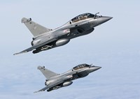 Two Dassault Rafale B's of the French Air Force (side view) Fine Art Print