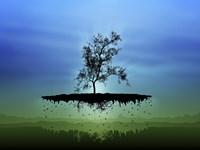 Flying Tree ( digitally generated - blue) Fine Art Print