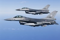 Two Dutch F-16AMs Over the Mediterranean Sea (side view) Fine Art Print