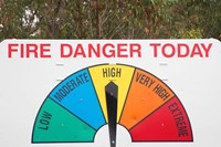 Fire Danger Warning Sign, Queensland, Australia Fine Art Print