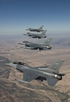 Four F-16's on a Training Mission Fine Art Print