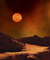 Rugged Planet Landscape Dimly Lit by a Distant Red Star Fine Art Print