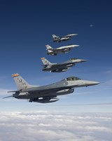 Four F-16's Fly in Formation During a Training Mission Fine Art Print