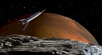 Spaceship in Orbit over Mars Moon, Phobos Fine Art Print