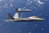 Two F-22 Raptors During a Training Mission Fine Art Print