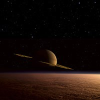 Saturn Floats in the Background Above Titan Fine Art Print