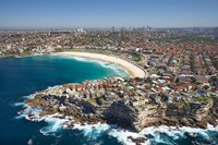Australia, New South Wales, Sydney, Bondi Beach - aerial Fine Art Print