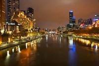 Australia, Victoria, Melbourne, Yarra River, City Skyline Fine Art Print