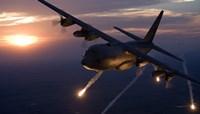 C-130 Hercules Releases Flares over Kansas Fine Art Print