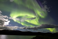 Aurora borealis over Fish Lake, Yukon, Canada Fine Art Print