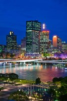 Australia, Queensland, Brisbane, City Skyline  at night Fine Art Print