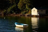 Boat on the lake at Lochmara Lodge, Marlborough Sounds, New Zealand Fine Art Print