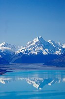 Aoraki, Mt Cook and Lake Pukaki, South Canterbury, South Island, New Zealand Fine Art Print
