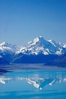 Aoraki, Mt Cook and Lake Pukaki, South Canterbury, South Island, New Zealand Fine Art Print