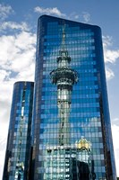 Reflection of Skytower in Office Building, Auckland, North Island, New Zealand Fine Art Print