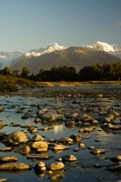 New Zealand, Mt Tasman, Mt Cook, Clearwater River Fine Art Print