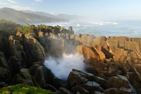 New Zealand, Paparoa NP, Pankace Rocks blowhole Fine Art Print
