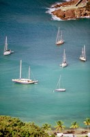 Yachts Anchor in British Harbor, Antigua, Caribbean Fine Art Print