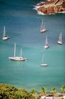 Yachts Anchor in British Harbor, Antigua, Caribbean Fine Art Print