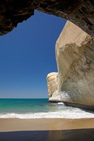 Sea cave, beach and cliffs, Tunnel Beach, Dunedin, South Island, New Zealand Fine Art Print