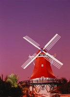 The Mill Resort against pink sky, Oranjestad, Aruba Fine Art Print