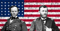 General Sherman and General Ulysses S Grant with American Flag Fine Art Print