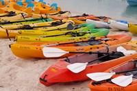 Bahamas, Eleuthera, Princess Cays, beach kayaks Fine Art Print