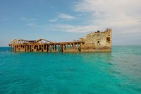 Cement shipwreck, Barnett Harbour, Bahamas Fine Art Print