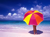Female Holding a Colorful Beach Umbrella on Harbour Island, Bahamas Fine Art Print