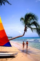 Couple on Beach with Sailboat and Palm Tree, Barbados Fine Art Print