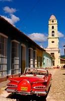 Old worn 1958 Classic Chevy, Trinidad, Cuba Fine Art Print