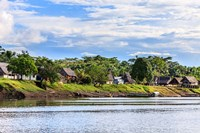 Houses along a riverbank in the Amazon basin, Peru Fine Art Print