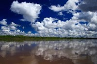 South America, Peru, Amazon Cloud reflections on Amazon river Fine Art Print
