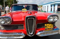 Classic 1950s Edsel parked on downtown street, Cardenas, Cuba Fine Art Print