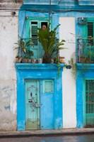 Cuba, Havana, Havana Vieja, Blue building Fine Art Print