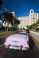 Cuba, Havana, Hotel Nacional, 1950s Classic car Fine Art Print