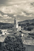 Cuba, Sancti Spiritus, Trinidad, town view (black and white) Fine Art Print