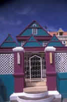Colorful Buildings and Detail, Willemstad, Curacao, Caribbean Fine Art Print