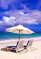 Umbrellas On Dawn Beach, St Maarten, Caribbean Fine Art Print