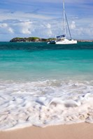 Catamaran off Orient Beach, St Maarten, West Indies Fine Art Print
