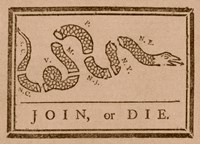 Join or Die Created by Benjamin Franklin Framed Print