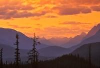 Alberta, Baniff NP, Sunset on Mountain ridges Fine Art Print