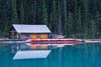 Canoe rental house on Lake Louise, Banff National Park, Alberta, Canada Fine Art Print