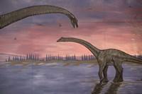 Town Dinosaur Mural, Drumheller, Alberta, Canada Fine Art Print