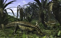 Desmatosuchus search for edible roots in a prehistoric landscape Fine Art Print