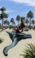 A Carnotaurus eating the flesh of a dead Chubutisaurus Fine Art Print